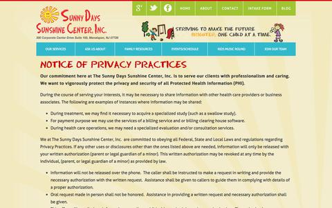 Screenshot of Privacy Page sunshinecenternj.com - Privacy Policy | Sunshine Center, Inc. - captured July 6, 2017