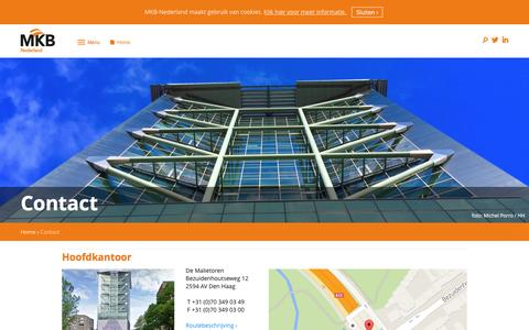 Screenshot of Contact Page mkb.nl - Contact | MKB-Nederland - captured May 27, 2016