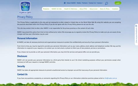 Screenshot of Privacy Page nadec.com.sa - Privacy Policy - captured Sept. 25, 2014