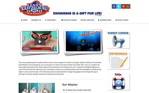 Screenshot of About Page lennykswim.com - Lenny Krayzelburg Swim Academy: Swim Lessons for Kids, Children Swimming Lessons - captured March 9, 2016