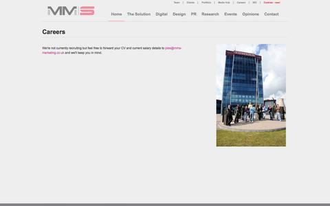 Screenshot of Jobs Page mms-marketing.co.uk - New Homes Marketing Experts - Careers - captured Oct. 3, 2014