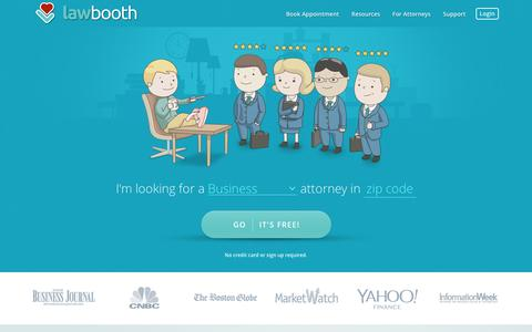 Screenshot of Home Page lawbooth.com - Lawbooth | Talk To A Lawyer Now - captured Jan. 30, 2016
