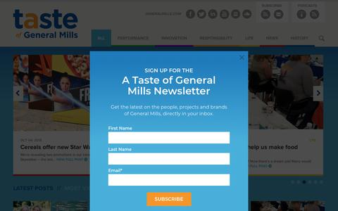 Screenshot of Blog generalmills.com - A Taste of General Mills | The official General Mills blog, featuring news and information about the company. - captured Oct. 12, 2019