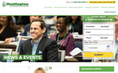 Screenshot of Press Page huntingtonfranchise.com - Huntington Learning Center Media News |Huntington Updates - captured Jan. 23, 2018