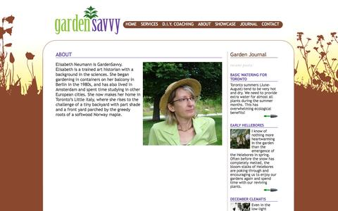 Screenshot of About Page gardensavvy.ca - About «  GardenSavvy - captured Sept. 26, 2014