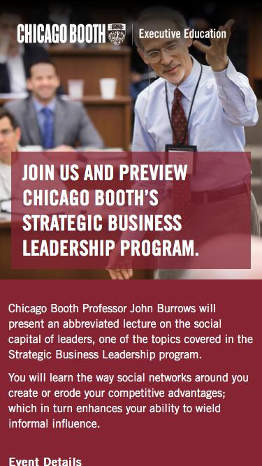 Executive Education at Chicago Booth | SBL Info Session