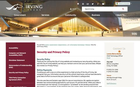 Screenshot of Privacy Page cityofirving.org - Security and Privacy Policy | Irving, TX - Official Website - captured Oct. 28, 2014
