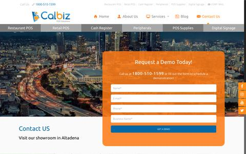 Screenshot of Contact Page calbiz.com - Point of Sale Solution for Restaurant and Retail Environment in Pacoima - captured Sept. 26, 2018