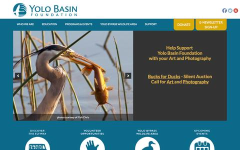 Screenshot of Home Page yolobasin.org - Yolo Basin Foundation - - captured Aug. 16, 2015