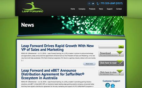 Screenshot of Press Page leapforwardgaming.com - News | Leap Forward Gaming | Innovative Casino Gaming Technology - captured Sept. 29, 2014