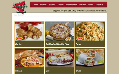 Screenshot of Menu Page zeppes.com - Our Menu | Zeppe's Pizzeria - captured Nov. 3, 2014