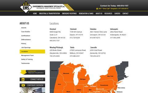 Screenshot of Locations Page emsonsite.com - Locations - EMS On Site - captured Nov. 18, 2015