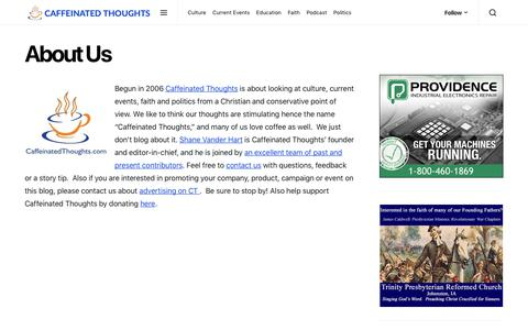 Screenshot of About Page caffeinatedthoughts.com - About Us   Caffeinated Thoughts - captured Nov. 4, 2018