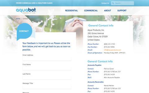 Screenshot of Contact Page aquabot.com - Contact the Aquabot Team - Aquabot - captured Sept. 30, 2014
