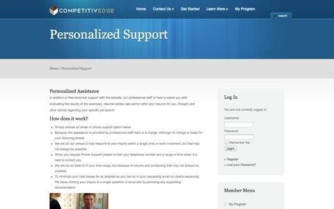 Screenshot of Support Page competitiv-edge.com - Personalized Support « Competitiv-Edge - captured Oct. 2, 2014