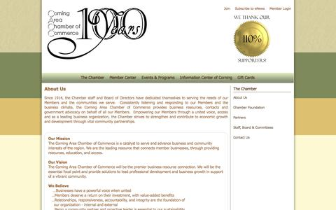 Screenshot of About Page corningny.com - Corning Area Chamber of Commerce About Us - captured Oct. 3, 2014