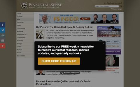 Screenshot of Blog financialsense.com -   FINANCIAL SENSE - captured Sept. 24, 2018