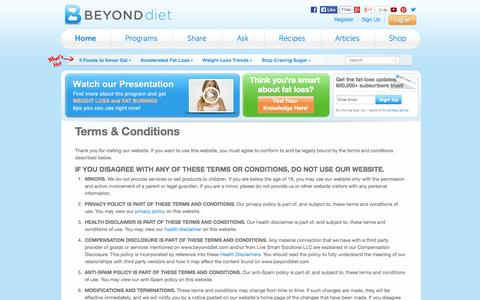 Screenshot of Terms Page beyonddiet.com - Terms & Conditions |  Beyond Diet - captured Oct. 29, 2014