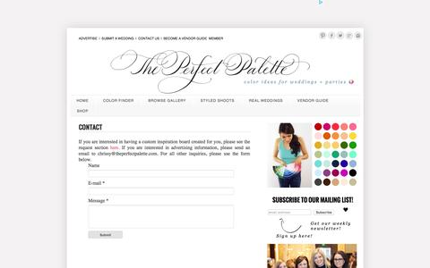 Screenshot of Contact Page theperfectpalette.com - The Perfect Palette: CONTACT - captured Jan. 14, 2016