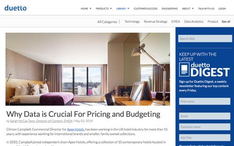 Screenshot of Pricing Page duettocloud.com - Why Data is Crucial For Pricing and Budgeting - captured Jan. 6, 2020