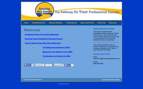 Screenshot of FAQ Page coachinggetsresults.com - Resources » Coaching Gets Results - captured Oct. 2, 2014