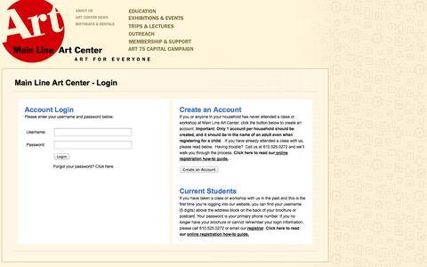 Screenshot of Login Page mainlineart.org - Main Line Art Center - captured Oct. 4, 2014