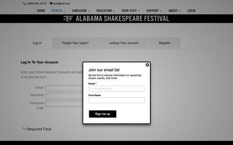 Screenshot of Login Page asf.net - Alabama Shakespeare Festival | Login - captured Dec. 18, 2018