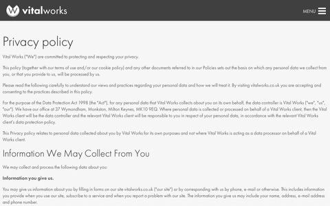 Screenshot of Privacy Page vitalworks.co.uk - Privacy policy - Vital Works - captured Feb. 25, 2016