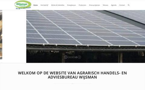 Screenshot of Home Page wijsmanhandelenadvies.nl - Wijsman Handel en Advies | Agrarisch adviesbureau - captured Oct. 3, 2018