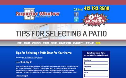 Screenshot of Blog superiorwindowpgh.com - Blog | Superior Window - captured Oct. 7, 2014
