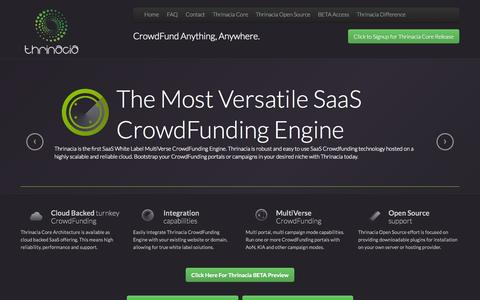 Screenshot of Home Page thrinacia.com - Thrinacia - The Most Versatile SaaS CrowdFunding Engine and Platform. CrowdFund Anything, Anywhere. Open Source CrowdFunding Plugin Initiative - captured Oct. 9, 2014