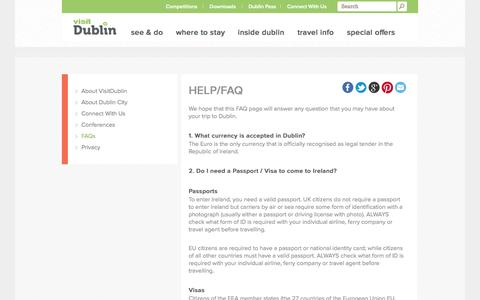 Screenshot of FAQ Page visitdublin.com - Visit Dublin - Official Tourist Information Dublin Hotels and Car Hire - captured Sept. 22, 2014