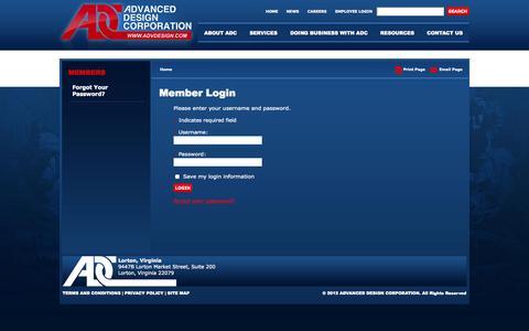 Screenshot of Login Page advdesign.com - Members - Login | Advanced Design Corporation, Lorton Virginia - captured Oct. 4, 2014