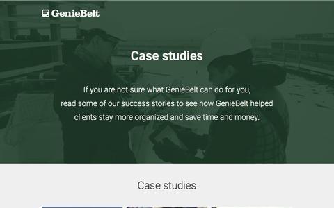 Screenshot of Case Studies Page geniebelt.com - Construction Management Case Studies - GenieBelt - captured Feb. 25, 2017