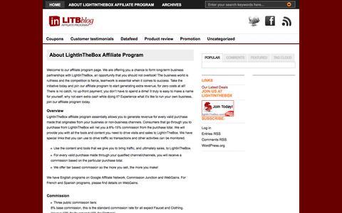 Screenshot of lightinthebox.com - LightInTheBox Affiliate Program Blog|  About LightInTheBox Affiliate Program - captured July 22, 2016