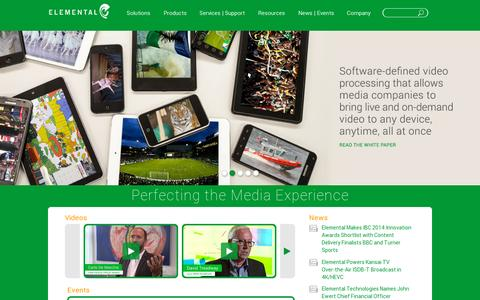 Screenshot of Home Page elementaltechnologies.com - Elemental Technologies, Inc. | Perfecting the Media Experience - captured July 11, 2014