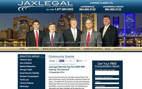 Screenshot of Press Page jaxlegal.com - Community Events | Hardesty, Tyde, Green & Ashton - captured Oct. 2, 2014