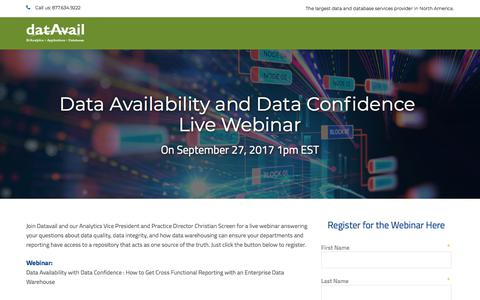 Screenshot of Landing Page datavail.com - Data Availability and Data Confidence Live Webinar - captured July 18, 2018