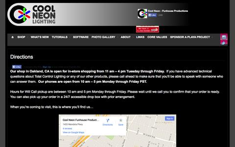Screenshot of Maps & Directions Page coolneon.com - Directions  » Cool Neon EL Wire - captured Oct. 6, 2014