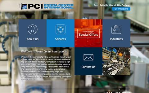 Screenshot of Home Page surfpci.com - Postal Center International - captured Oct. 2, 2014
