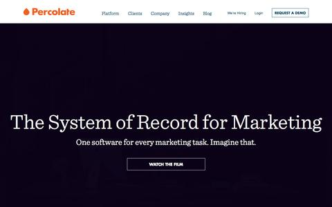 Screenshot of Home Page percolate.com - Percolate | Complete Marketing Software for Global Brands - captured Jan. 14, 2015