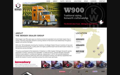 Screenshot of About Page cmkenworth.com - about » Berger Dealer Group - captured Oct. 2, 2014