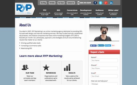 Screenshot of About Page rypmarketing.com - About RYP Marketing - captured Dec. 4, 2016