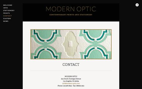 Screenshot of Contact Page modern-optic.com - Contact — MODERN OPTIC - captured March 8, 2016