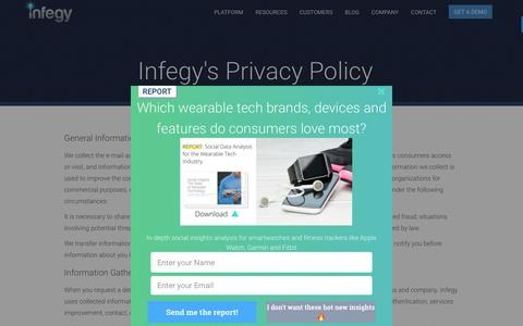 Screenshot of Privacy Page infegy.com - Infegy: Privacy Policy - captured Nov. 6, 2018