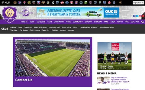 Screenshot of Contact Page orlandocitysc.com - Contact Us | Orlando City Soccer Club - captured July 14, 2017