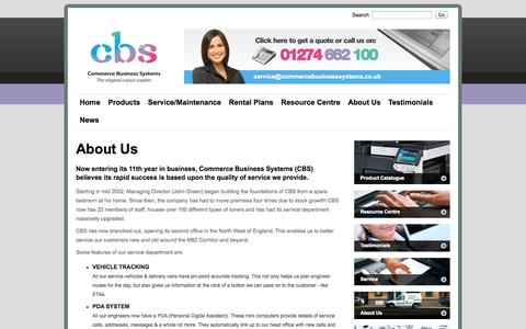 Screenshot of About Page commercebusinesssystems.co.uk - About Us | Photocopier Sales Preston | Photocopiers Bolton | Photocopier Sales Bradford - captured Oct. 2, 2014