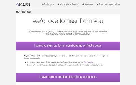 Screenshot of Contact Page anytimefitness.com.au - Contact Us | Anytime Fitness AU - captured Sept. 19, 2014
