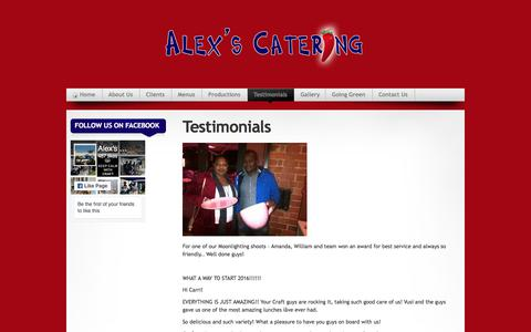 Screenshot of Testimonials Page alexscatering.co.za - Alex's Catering » Testimonials - captured July 29, 2018