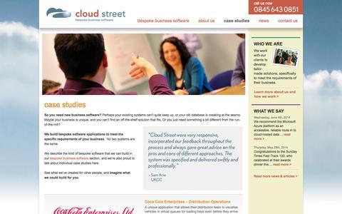 Screenshot of Case Studies Page cloudstreet.co.uk - case studies | cloud street - captured Oct. 2, 2014